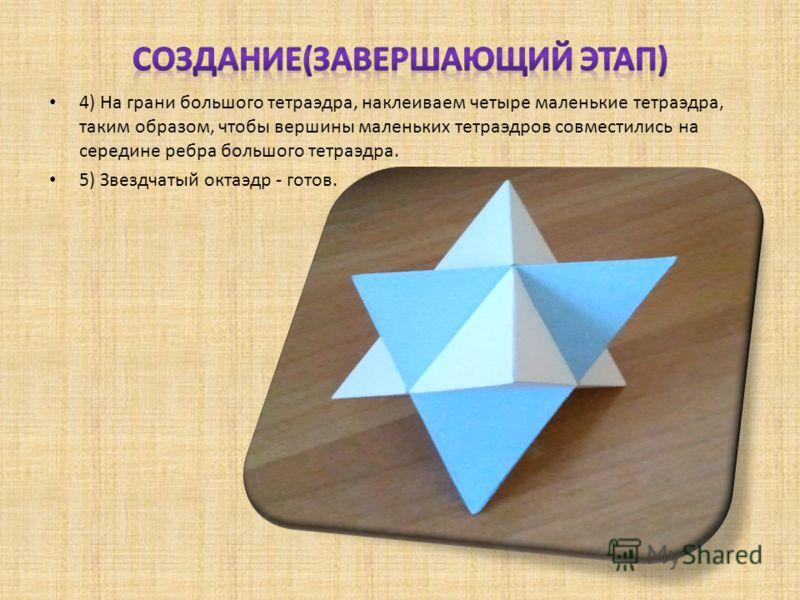 4) На грани большого тетраэдра, наклеиваем четыре маленькие тетраэдра, таким образом, чтобы вершины маленьких тетраэдров совместились на середине ребра большого тетраэдра. 5) Звездчатый октаэдр - готов.