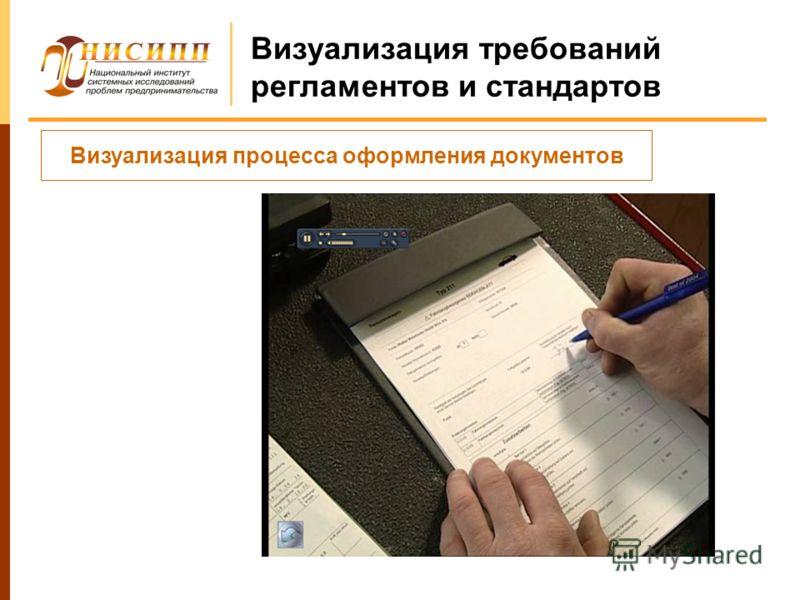 Визуализация требований регламентов и стандартов Визуализация процесса оформления документов