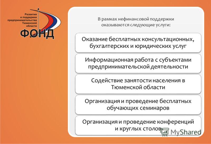 В рамках нефинансовой поддержки оказываются следующие услуги: Оказание бесплатных консультационных, бухгалтерских и юридических услуг Информационная работа с субъектами предпринимательской деятельности Содействие занятости населения в Тюменской облас