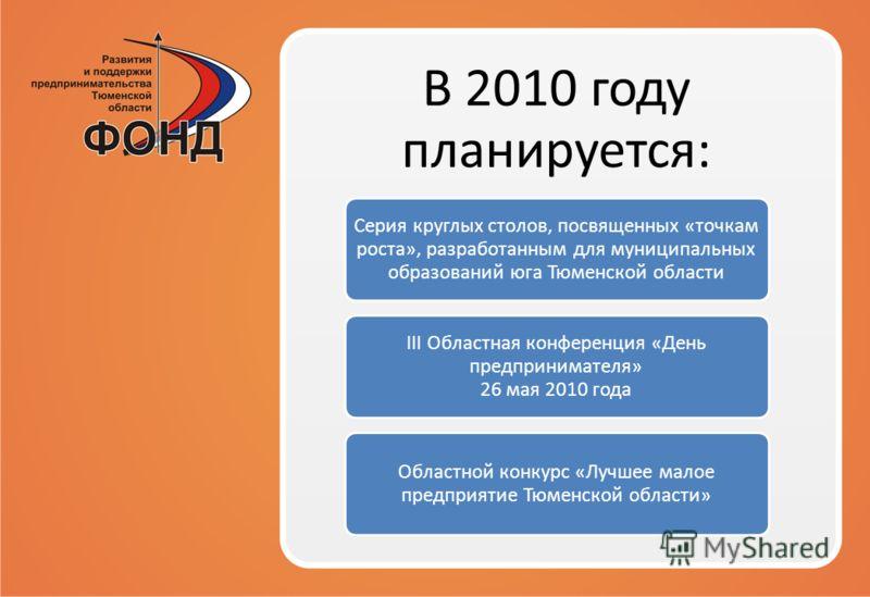 В 2010 году планируется: Серия круглых столов, посвященных «точкам роста», разработанным для муниципальных образований юга Тюменской области III Областная конференция «День предпринимателя» 26 мая 2010 года Областной конкурс «Лучшее малое предприятие