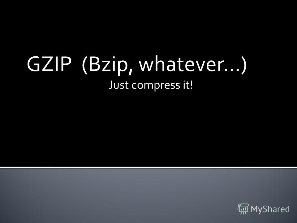 GZIP (Bzip, whatever…) Just compress it!