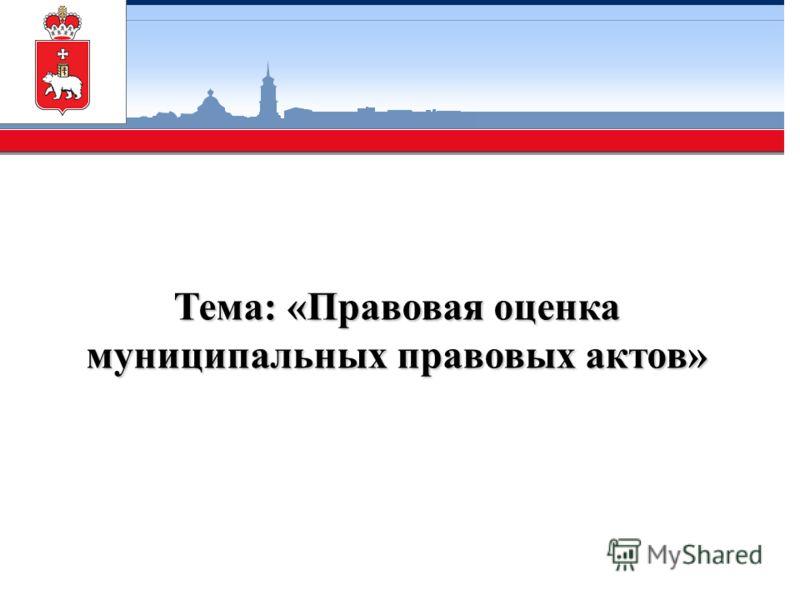 Тема: «Правовая оценка муниципальных правовых актов»