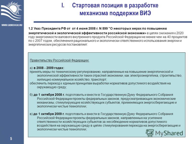 WWW.GIDROOGK.RU 5 I.Стартовая позиция в разработке механизма поддержки ВИЭ 1.2 Указ Президента РФ от от 4 июня 2008 г. N 899