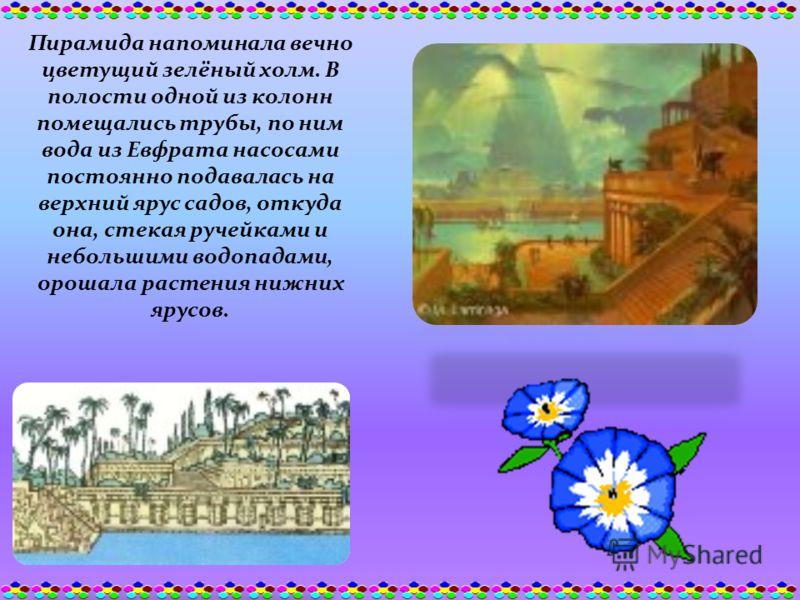 Пирамида напоминала вечно цветущий зелёный холм. В полости одной из колонн помещались трубы, по ним вода из Евфрата насосами постоянно подавалась на верхний ярус садов, откуда она, стекая ручейками и небольшими водопадами, орошала растения нижних яру