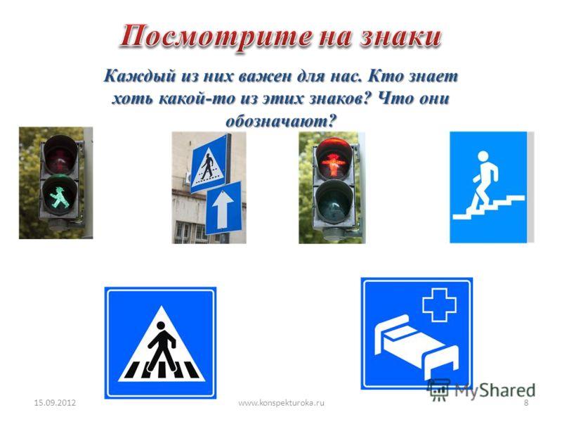 Каждый из них важен для нас. Кто знает хоть какой-то из этих знаков? Что они обозначают? 15.09.20128www.konspekturoka.ru