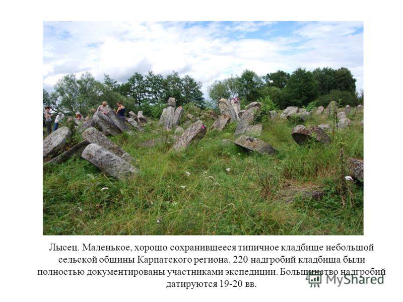 Лысец. Маленькое, хорошо сохранившееся типичное кладбище небольшой сельской общины Карпатского региона. 220 надгробий кладбища были полностью документированы участниками экспедиции. Большинство надгробий датируются 19-20 вв.