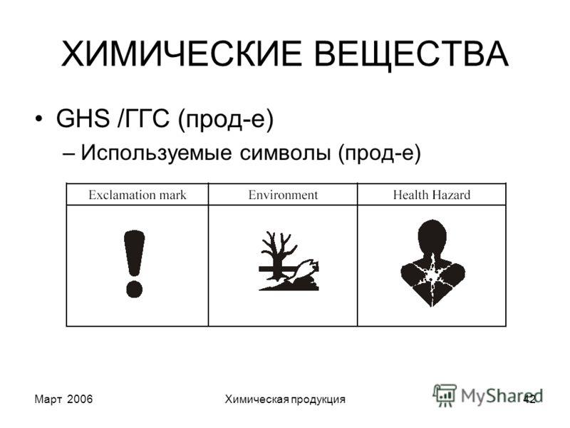 Март 2006Химическая продукция42 ХИМИЧЕСКИЕ ВЕЩЕСТВА GHS /ГГС (прод-е) –Используемые символы (прод-е)