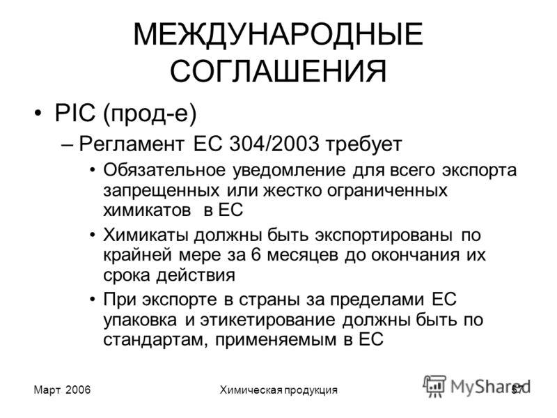 Март 2006Химическая продукция57 МЕЖДУНАРОДНЫЕ СОГЛАШЕНИЯ PIC (прод-е) –Регламент EC 304/2003 требует Обязательное уведомление для всего экспорта запрещенных или жестко ограниченных химикатов в ЕС Химикаты должны быть экспортированы по крайней мере за