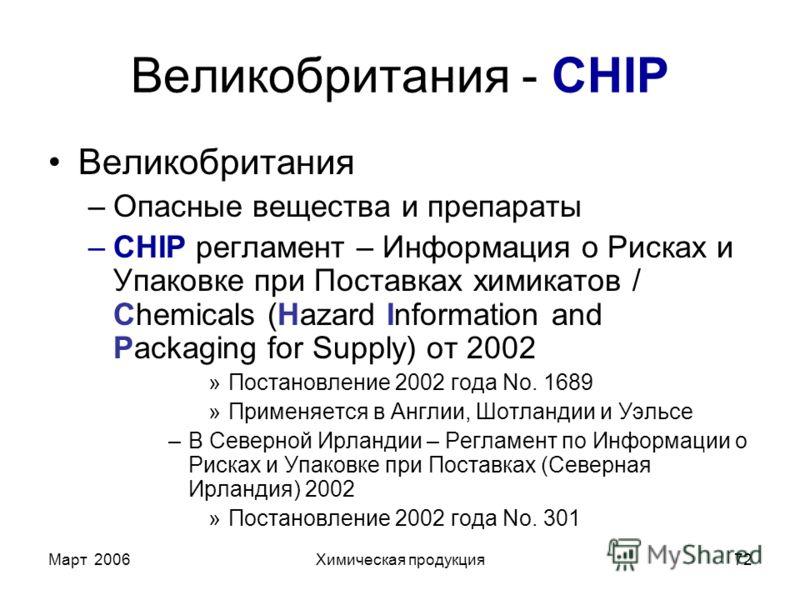 Март 2006Химическая продукция72 Великобритания - CHIP Великобритания –Опасные вещества и препараты –CHIP регламент – Информация о Рисках и Упаковке при Поставках химикатов / Chemicals (Hazard Information and Packaging for Supply) от 2002 »Постановлен