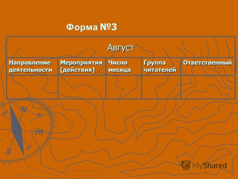 Август Направление деятельности Мероприятия (действия) Число месяца Группа читателей Ответственный Форма 3