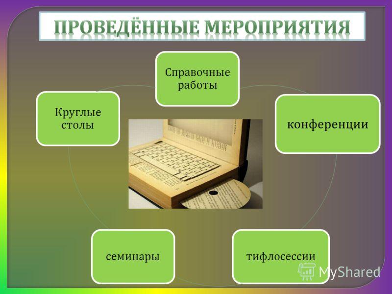 Справочные работы конференции тифлосессиисеминары Круглые столы
