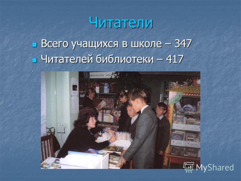 Читатели Всего учащихся в школе – 347 Всего учащихся в школе – 347 Читателей библиотеки – 417 Читателей библиотеки – 417.