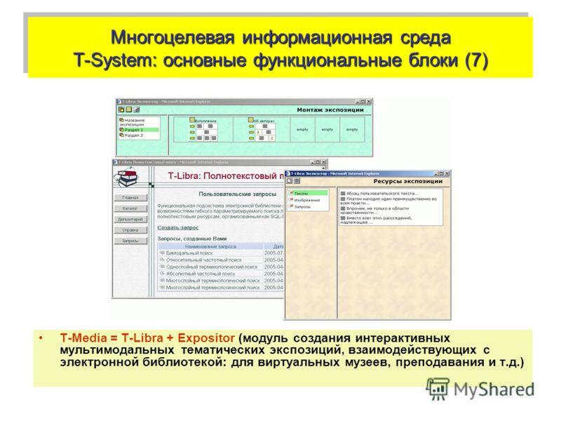 Многоцелевая информационная среда T-System: основные функциональные блоки (7) Т-Media = T-Libra + Expositor (модуль создания интерактивных мультимодальных тематических экспозиций, взаимодействующих с электронной библиотекой: для виртуальных музеев, п