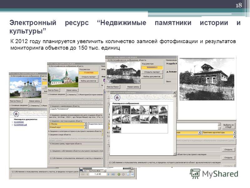 18 Электронный ресурс Недвижимые памятники истории и культуры К 2012 году планируется увеличить количество записей фотофиксации и результатов мониторинга объектов до 150 тыс. единиц