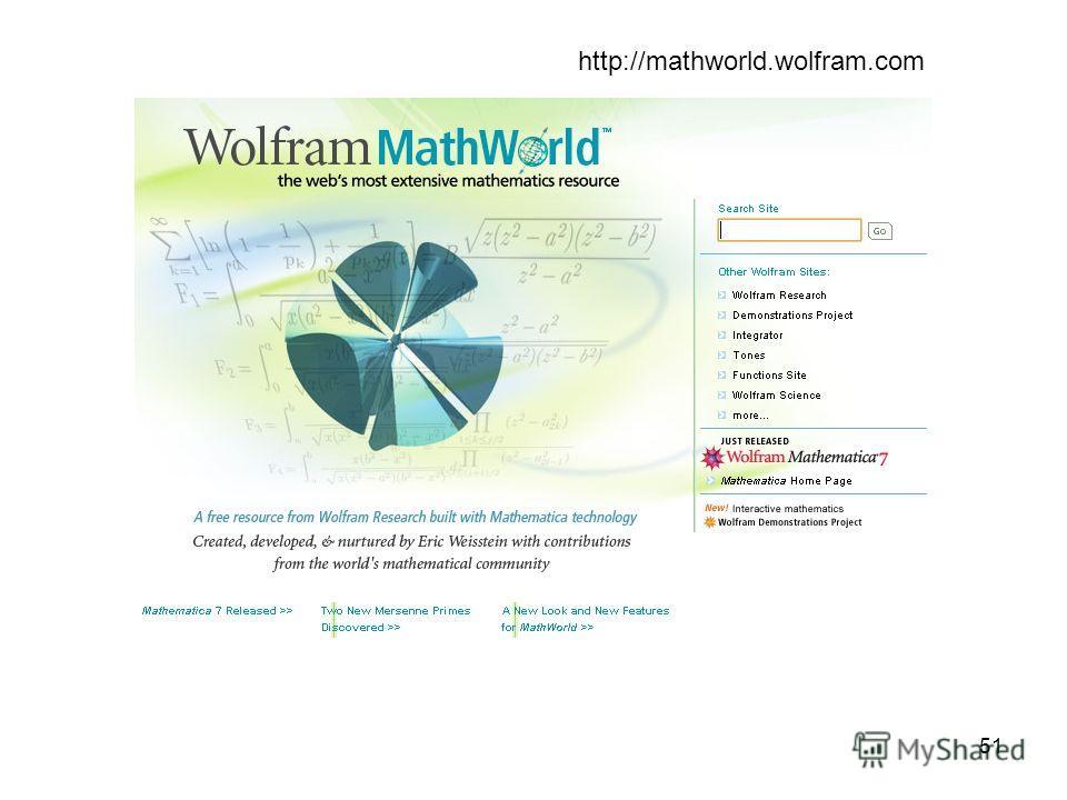 51 http://mathworld.wolfram.com