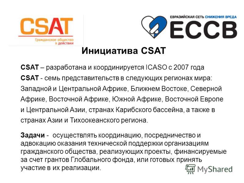 Инициатива CSAT CSAT – разработана и координируется ICASO с 2007 года CSAT - семь представительств в следующих регионах мира: Западной и Центральной Африке, Ближнем Востоке, Северной Африке, Восточной Африке, Южной Африке, Восточной Европе и Централь