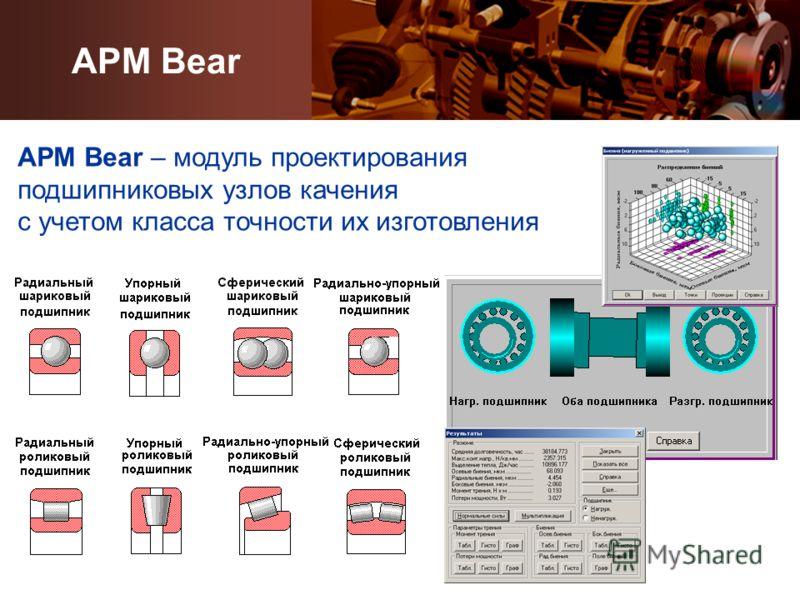 APM Bear APM Bear – модуль проектирования подшипниковых узлов качения с учетом класса точности их изготовления