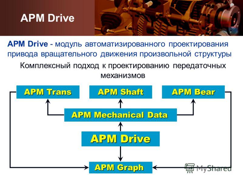 Комплексный подход к проектированию передаточных механизмов APM Drive APM Trans APM Bear APM Mechanical Data APM Shaft APM Graph APM Drive APM Drive - модуль автоматизированного проектирования привода вращательного движения произвольной структуры