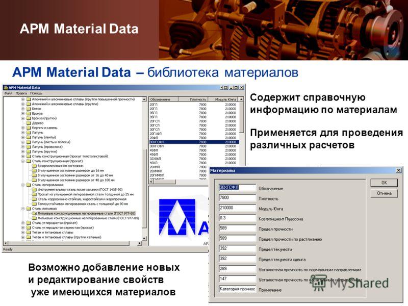APM Material Data – библиотека материалов Содержит справочную информацию по материалам Возможно добавление новых и редактирование свойств уже имеющихся материалов APM Material Data Применяется для проведения различных расчетов