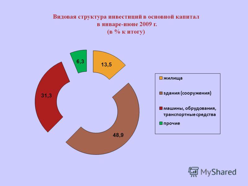 Видовая структура инвестиций в основной капитал в январе-июне 2009 г. (в % к итогу)
