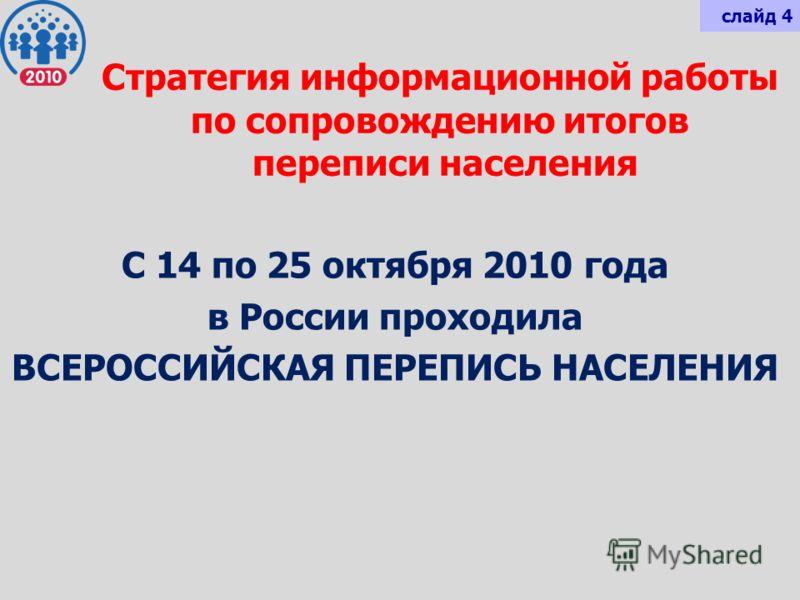 Стратегия информационной работы по сопровождению итогов переписи населения С 14 по 25 октября 2010 года в России проходила ВСЕРОССИЙСКАЯ ПЕРЕПИСЬ НАСЕЛЕНИЯ слайд 4