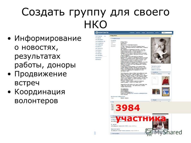 Создать группу для своего НКО Информирование о новостях, результатах работы, доноры Продвижение встреч Координация волонтеров 3984 участника