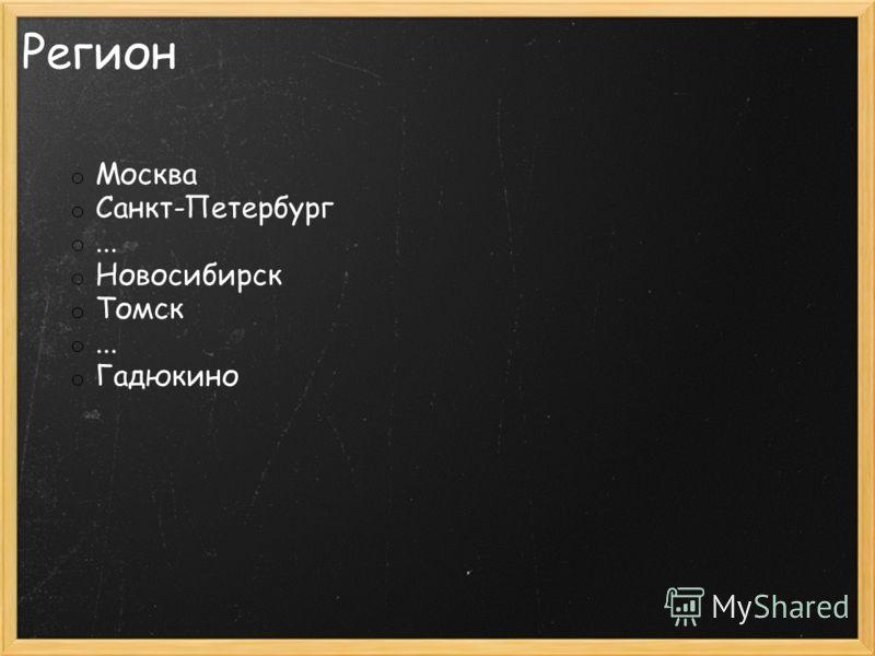 Регион o Москва o Санкт-Петербург o... o Новосибирск o Томск o... o Гадюкино