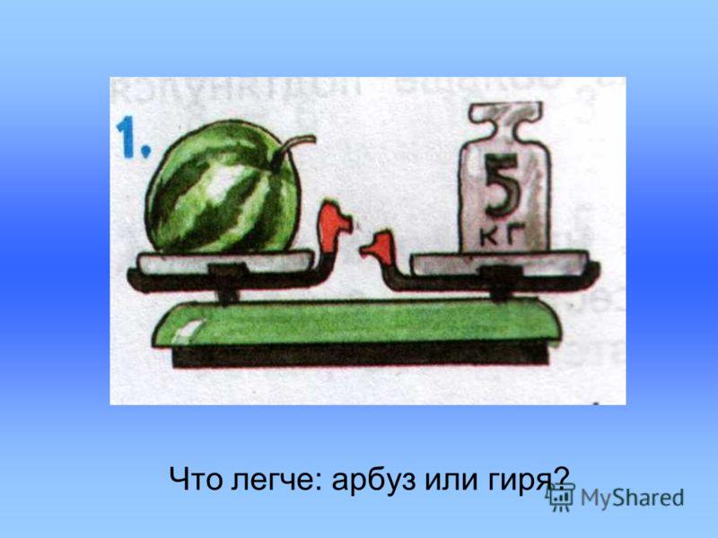 Что легче: арбуз или гиря?