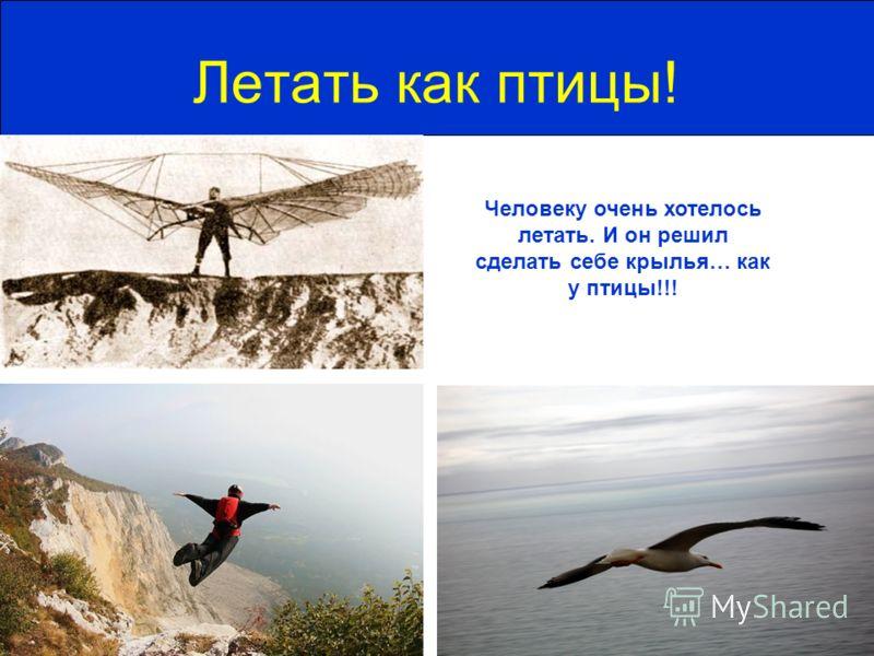 Летать как птицы! Человеку очень хотелось летать. И он решил сделать себе крылья… как у птицы!!!