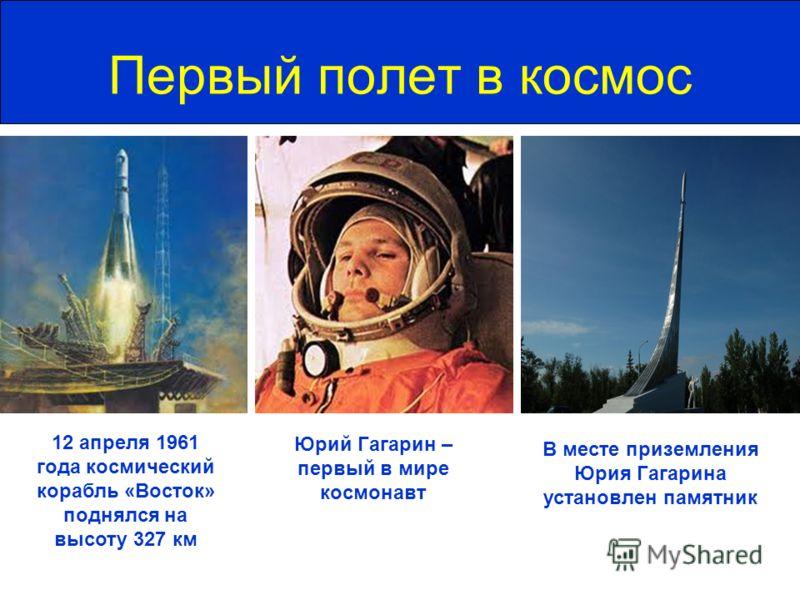 Первый полет в космос Юрий Гагарин – первый в мире космонавт 12 апреля 1961 года космический корабль «Восток» поднялся на высоту 327 км В месте приземления Юрия Гагарина установлен памятник