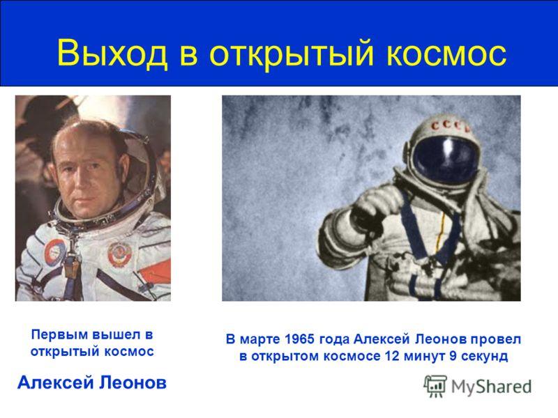 Выход в открытый космос Первым вышел в открытый космос Алексей Леонов В марте 1965 года Алексей Леонов провел в открытом космосе 12 минут 9 секунд