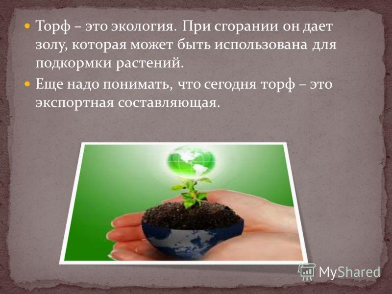 Торф – это экология. При сгорании он дает золу, которая может быть использована для подкормки растений. Еще надо понимать, что сегодня торф – это экспортная составляющая.