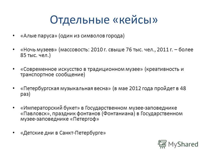 Отдельные «кейсы» «Алые паруса» (один из символов города) «Ночь музеев» (массовость: 2010 г. свыше 76 тыс. чел., 2011 г. – более 85 тыс. чел.) «Современное искусство в традиционном музее» (креативность и транспортное сообщение) «Петербургская музыкал