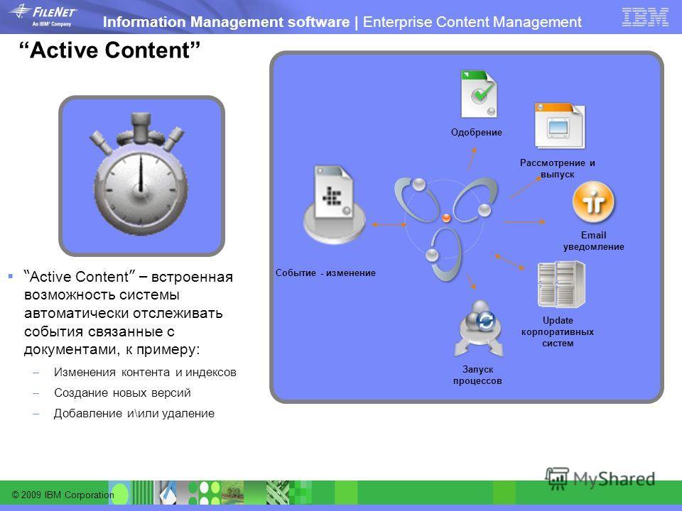 © 2009 IBM Corporation Information Management software | Enterprise Content Management Active Content Active Content – встроенная возможность системы автоматически отслеживать события связанные с документами, к примеру: –Изменения контента и индексов