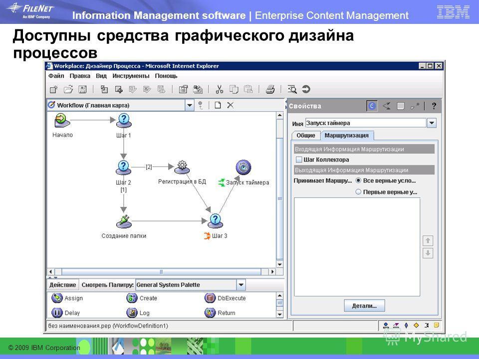 © 2009 IBM Corporation Information Management software | Enterprise Content Management Доступны средства графического дизайна процессов
