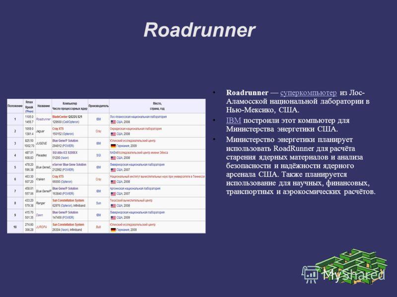 Roadrunner Roadrunner суперкомпьютер из Лос- Аламосской национальной лаборатории в Нью-Мексико, США.суперкомпьютер IBM построили этот компьютер для Министерства энергетики США.IBM Министерство энергетики планирует использовать RoadRunner для расчёта