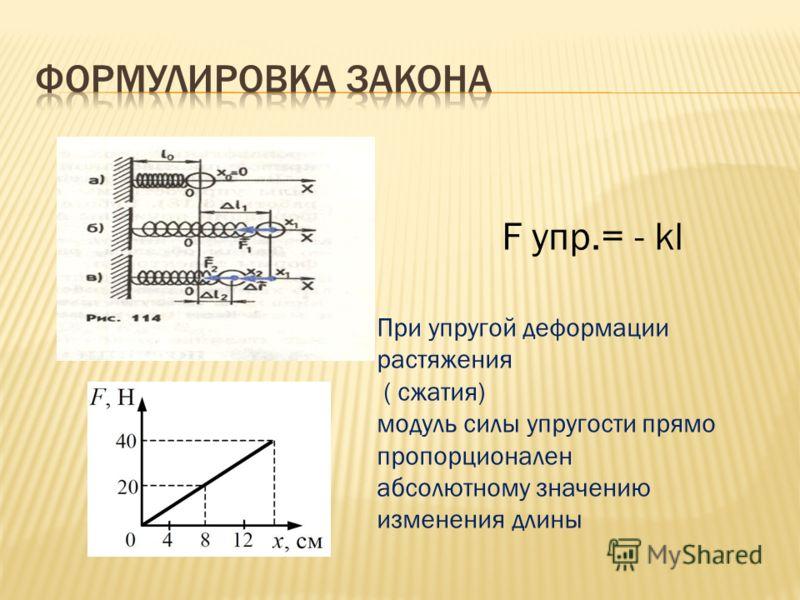 F упр.= - kl При упругой деформации растяжения ( сжатия) модуль силы упругости прямо пропорционален абсолютному значению изменения длины