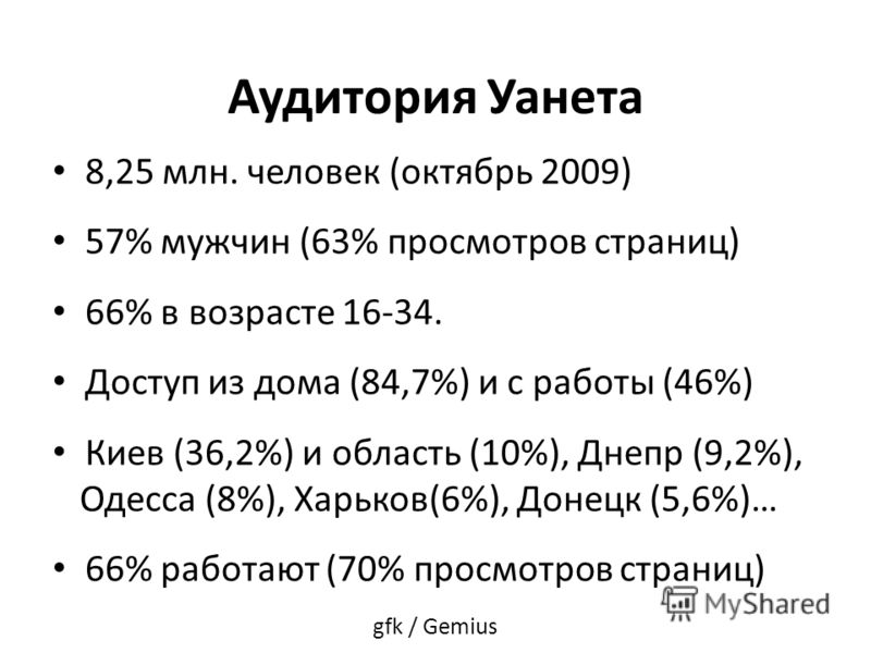 Аудитория Уанета 8,25 млн. человек (октябрь 2009) 57% мужчин (63% просмотров страниц) 66% в возрасте 16-34. Доступ из дома (84,7%) и с работы (46%) Киев (36,2%) и область (10%), Днепр (9,2%), Одесса (8%), Харьков(6%), Донецк (5,6%)… 66% работают (70%