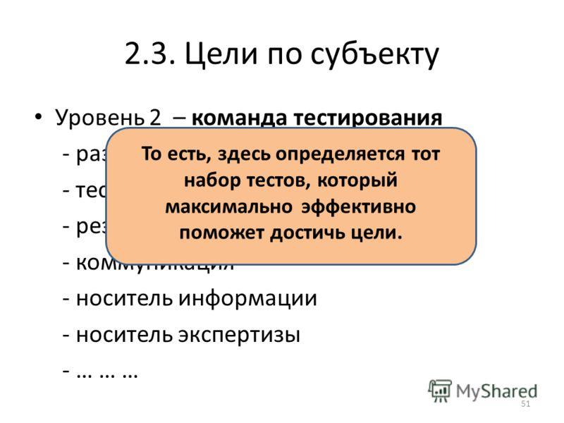 2.3. Цели по субъекту Уровень 2 – команда тестирования - разработка плана и стратегии - тестирование - резолюция о состоянии - коммуникация - носитель информации - носитель экспертизы - … … … То есть, здесь определяется тот набор тестов, который макс