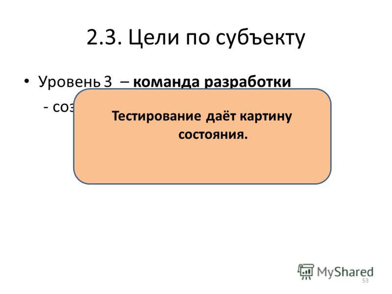 2.3. Цели по субъекту Уровень 3 – команда разработки - создать качественный продукт Тестирование даёт картину состояния. 53