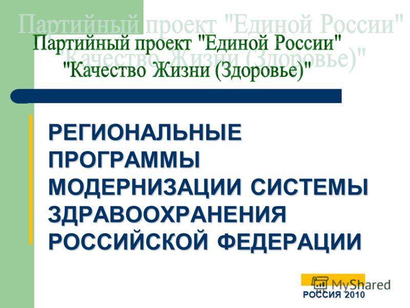 РЕГИОНАЛЬНЫЕ ПРОГРАММЫ МОДЕРНИЗАЦИИ СИСТЕМЫ ЗДРАВООХРАНЕНИЯ РОССИЙСКОЙ ФЕДЕРАЦИИ РОССИЯ 2010