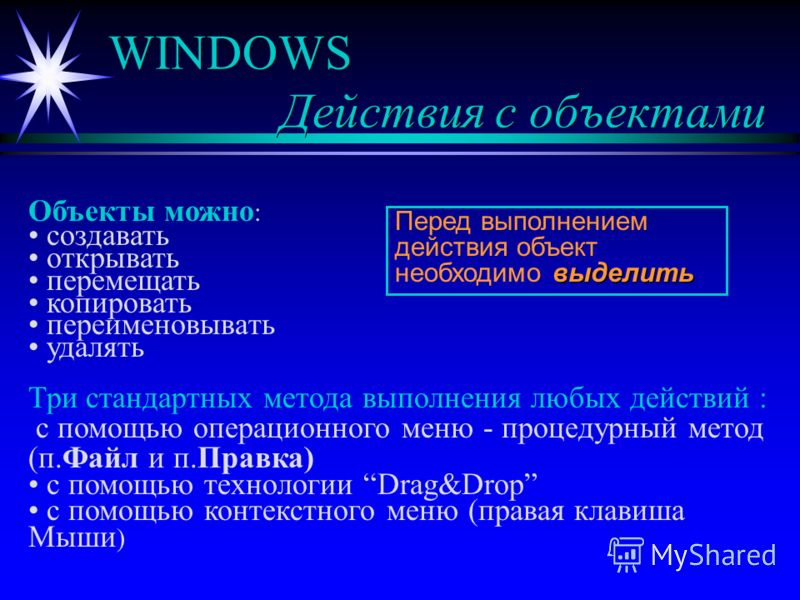 WINDOWS Действия с объектами Объекты можно : создавать открывать перемещать копировать переименовывать удалять Три стандартных метода выполнения любых действий : с помощью операционного меню - процедурный метод (п.Файл и п.Правка) с помощью технологи