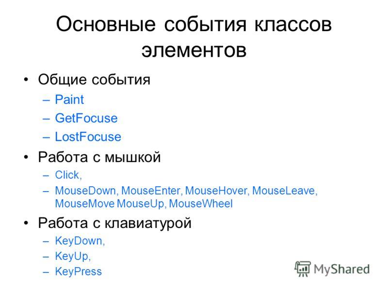 Основные события классов элементов Общие события –Paint –GetFocuse –LostFocuse Работа с мышкой –Click, –MouseDown, MouseEnter, MouseHover, MouseLeave, MouseMove MouseUp, MouseWheel Работа с клавиатурой –KeyDown, –KeyUp, –KeyPress