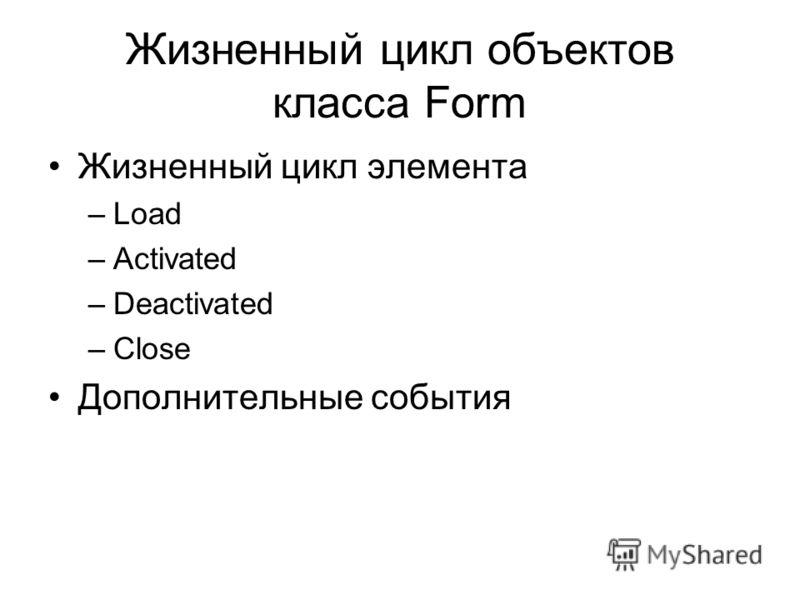 Жизненный цикл объектов класса Form Жизненный цикл элемента –Load –Activated –Deactivated –Close Дополнительные события