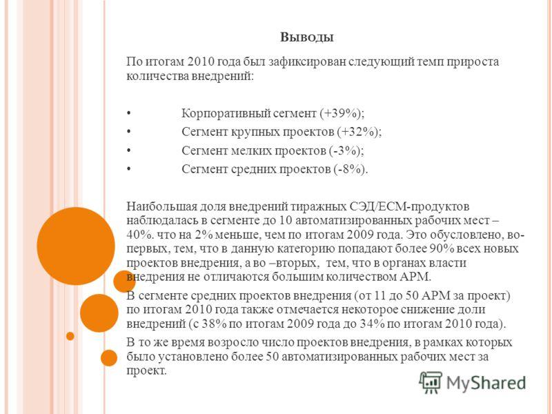 В ЫВОДЫ По итогам 2010 года был зафиксирован следующий темп прироста количества внедрений : Корпоративный сегмент (+39%); Сегмент крупных проектов (+32%); Сегмент мелких проектов (-3%); Сегмент средних проектов (-8%). Наибольшая доля внедрений тиражн