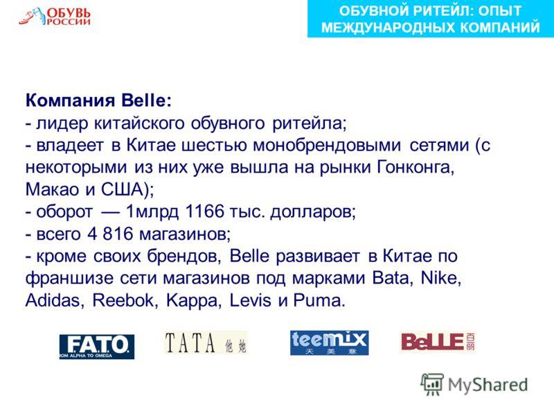 Компания Belle: - лидер китайского обувного ритейла; - владеет в Китае шестью монобрендовыми сетями (с некоторыми из них уже вышла на рынки Гонконга, Макао и США); - оборот 1млрд 1166 тыс. долларов; - всего 4 816 магазинов; - кроме своих брендов, Bel