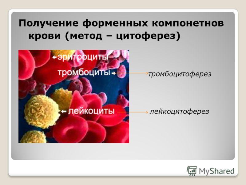 Получение форменных компонетнов крови (метод – цитоферез) лейкоцитоферезом лейкоцитоферез тромбоцитоферез лейкоцитоферез