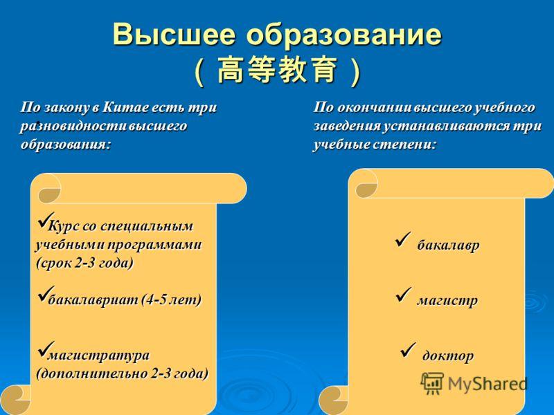 Высшее образование Высшее образование По закону в Китае есть три разновидности высшего образования: По окончании высшего учебного заведения устанавливаются три учебные степени: Курс со специальным Курс со специальным учебными программами (срок 2-3 го