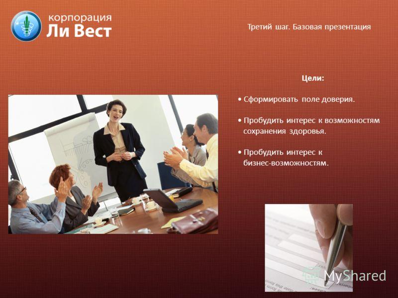 Третий шаг. Базовая презентация Цели: Сформировать поле доверия. Пробудить интерес к возможностям сохранения здоровья. Пробудить интерес к бизнес-возможностям.