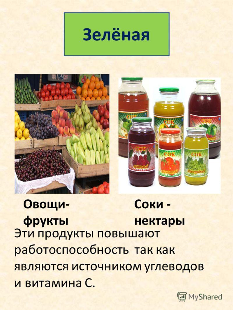 Зелёная Овощи- фрукты Соки - нектары Эти продукты повышают работоспособность так как являются источником углеводов и витамина С.